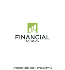 Financial Solution Logo.with Road Icon and Statistis Investment Vector Design