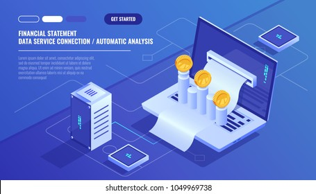 Financial statement, analysis and statistic online servises, laptop with payment schedule, money cash accounting isometric vector technology