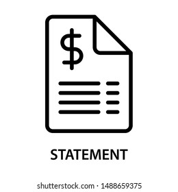 Financial Statement icon. Bank documents. Paper with the Dollar sign on top. Stroke outline style. Vector. Isolate on white background.