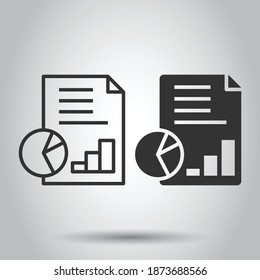 Financial statement icon in flat style. Document vector illustration on white isolated background. Report business concept.