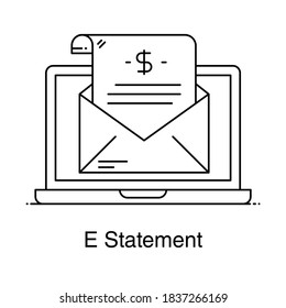 Financial statement inside laptop denoting concept of e statement icon