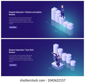Financial statement, statistics and, analytics, business cooperation, team work, partner, businessman, chart, success vector illustration on ultraviolet background