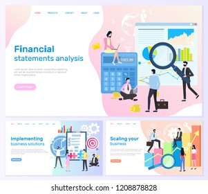 Financial statements analysis, implementing business solutions vector. Business banners, scaling your business with charts accounting and teamwork