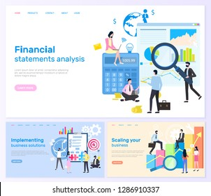 Financial statements analysis and solution vector. Implementing solutions and scaling business, people with magnifying glass and calculator, finance planning. Website template, landing page flat style