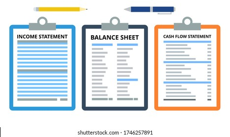 Financial statements concept vector. Income statement, balance sheet, cash flow statement. Finance and accounting concept. Flat illustration on white background.