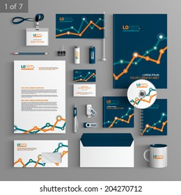 Financial stationery template design with graph. Documentation for business.