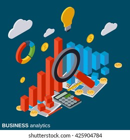 Financial statistics, business report, modern infographic, market trends analysis flat isometric vector concept illustration