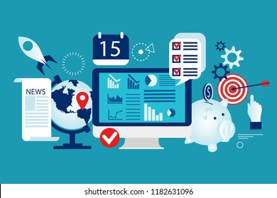 Financial stock market. Capital markets trading e-commerce investments finance. Growth of economic indicators. Savings account growth financial stock. Eps 10 Vector illustration minimalist flat design
