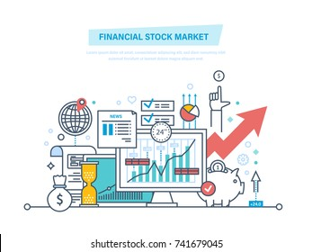 Financial stock market. Capital markets, trading, e-commerce, investments, finance. Growth of economic indicators. Savings account, growth financial stock. Illustration thin line design.