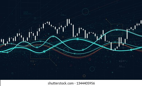 Financial stock market data statistics charts, index prices growing and falling, economic trends business for financial presentation
