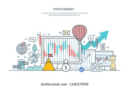 Financial stock market, protection of trades, capital market, e-commerce, investments, trade marketing. Growth chart on stock market, currency trading, capital. Illustration thin line vector doodles.