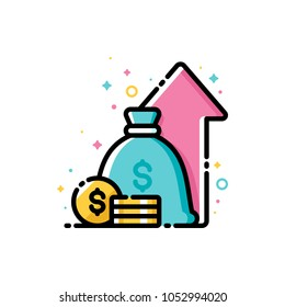 Financial strategy, budget balance, income and revenue increase, return on investment and fund raising. Flat filled outline style icon. Pixel perfect. Editable stroke. Size 72x72 pixels