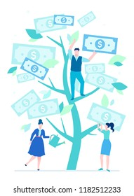 Financial success - flat design style illustration on white background. A composition with cheerful team around a money tree with bank notes as leaves, woman with watering pot. Business growth concept
