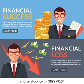 Financial success, financial loss. Vector flat illustration