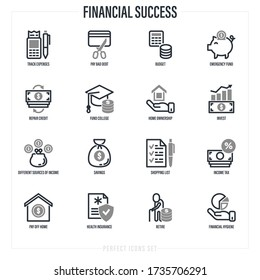 Financial success set: track expenses, budget, emergency fund, credit card, home ownership, invest, fund college, retire, financial hygiene, health insurance. Thin line icons. Vector illustration.