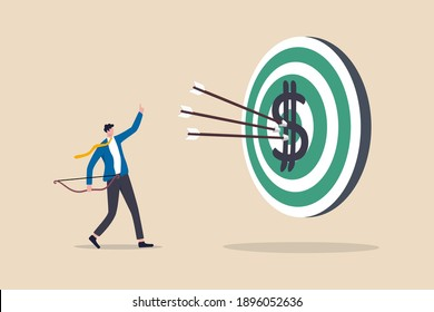 Financial target, bargain value or growth stocks selection investment make profit, reach savings and debt payment goal concept, smart businessman archer hitting dartboard or archery target bullseye