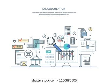 financial tax calculations accounting research counting profit income business audit data