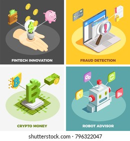 Financial technology 2x2 design concept set of fintech innovation fraud detection crypto money robot advisor square compositions isometric vector illustration