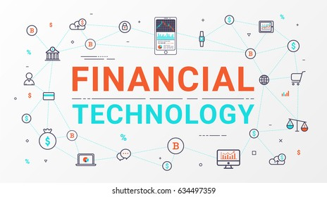 Financial technology and Business investment info graphic. Thin line art style design for web banner, business start up, commercial, poster and advertising. Vector illustration. Flat line design.