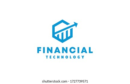 Financial technology business Logo Vector Design Template. blockchain Icon. accounting application Symbol For Company.