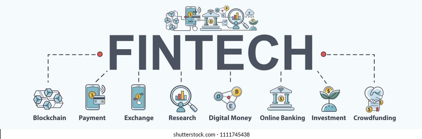Financial technology (Fintech) banner web icon, block chain, payment, online banking, investment and crowdfunding. Minimal vector infographic.