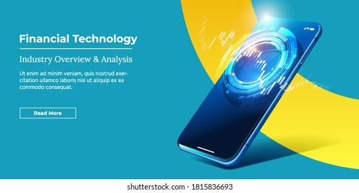 Financial Technology - Fintech Concept. Vector Realistic Smartphone with Stock Market App. Futuristic Fintech Controlling System Global Trading Banner, Site or Landing Mockup.