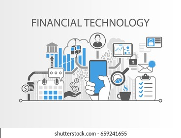 Financial Technology / Fin-Tech concept vector background with hand holding smartphone