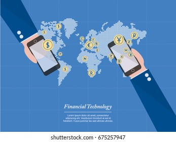 Financial technology,  the new technology of business and finance in the world of innovation. This is very useful for  presentation, report, education , or contents.