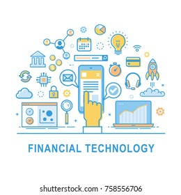 Financial technology vector, fin-tech concept background with hand and smartphone. Icon set for infographic.