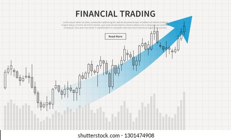 Financial trading chart vector illustration. Candlestick trading graph creative concept with sample text. Financial chart with trend arrow graphic design.