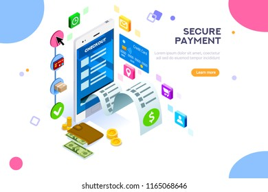 Financial transaction, mobile banking on smartphone. Paper bill, donation or earnings. For analysis and statistics online service. Concept with character and text. Flat isometric vector illustration.