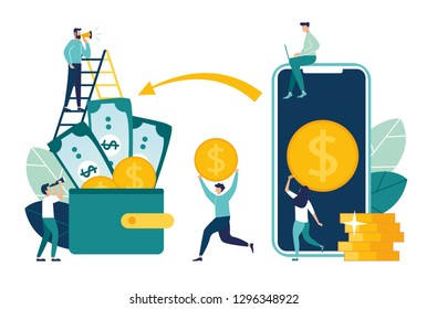 Financial transactions, non-cash payment transactions. Pos-terminal and payment systems, currency, coins, NFC payment system - Vector, money transfer - Vector