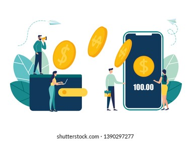 Financial transactions, non-cash payment transactions. Pos-terminal and pay systems, currency, coins, NFC payment system - Vector, money transfer