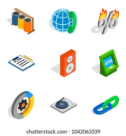 Financial web icons set. Isometric set of 9 financial web vector icons for web isolated on white background