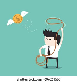 Financials concept, Businessman chasing flying money by rope
