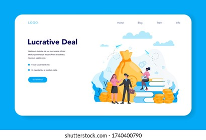 Financier web banner or landing page concept. Business character making banking operations and lucrative deal. Isolated flat vector illustration