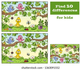 Find 10 differences. Cartoon game for kids. With solution. Vector illustration with separate layers.