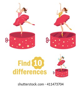 Find 10 differences. Dancer in the music box. Children's page in bright colors of yellow, blue, red. Vector isolated illustration. Cartoon character.