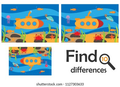 Find 10 differences, game for children, sea world underwater in cartoon style, education game for kids, preschool worksheet activity, task for the development of logical thinking, vector illustration