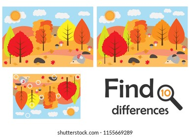 Find 10 differences, game for children, autumn forest in cartoon style, education game for kids, preschool worksheet activity, task for the development of logical thinking, vector illustration