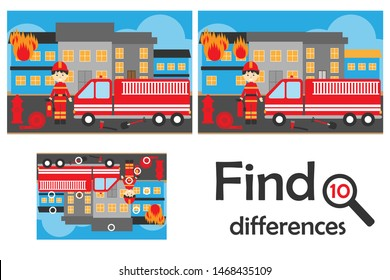 Find 10 differences, game for children, fire and fireman cartoon style, education game for kids, preschool worksheet activity, task for the development of logical thinking, vector illustration