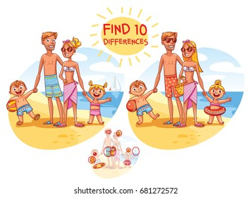 Find the 10 differences. Happy family on vacation. Summer recreation. Funny cartoon character. Vector illustration. Isolated on white background
