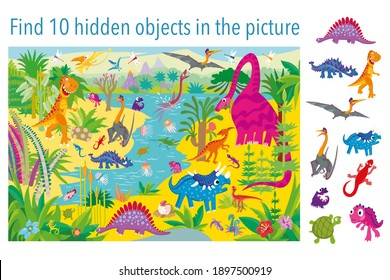 Find 10 hidden objects in the picture. Dinosaur in the Jurassic period. Vector illustrations, full color.