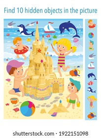 Find 10 hidden objects in the picture. Children are building a sand castle on the beach near the sea. Vector illustrations, full color.