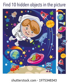 Find 10 hidden objects in picture. Puzzle hidden elements game. Boy astronaut in outer space met aliens, lunatics. Funny cartoon character. Vector illustration.
