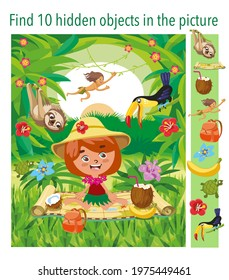 Find 10 hidden objects in picture. Girl travels through the jungle, tropical forest. Puzzle hidden elements game. Funny cartoon character. Vector illustration.