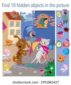 Find 10 hidden objects in picture. The cat and the dog met after the rain, bad manners. Vector illustration, full color.