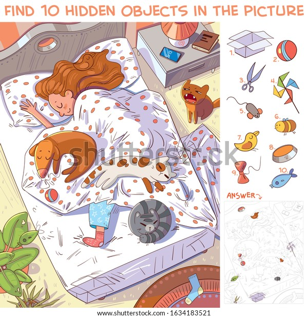 Find 10 hidden objects in the picture. Morning. Girl sleeping with their pets in bed. Puzzle Hidden Items. Funny cartoon character