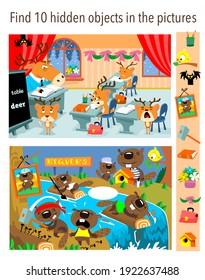 Find 10 hidden objects in the pictures. Vector illustrations, full color.
