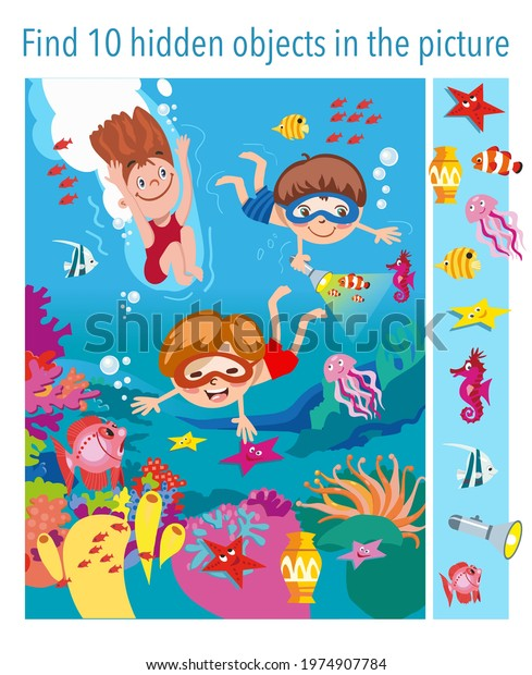 Find 10 objects in the picture. Children swim underwater with fish, seahorse, stars, jellyfish, vector illustration, full color.